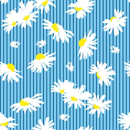 Hand-drawn seamless pattern with floral print. Abstract white daisies on  blue striped background. Vector pattern for printing on fabric, gift wrapping, covers, wallpapers. 向量圖像