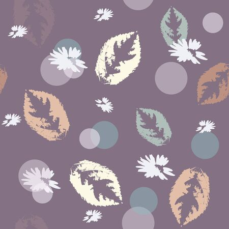 Hand-drawn seamless pattern with floral print. Abstract autumn leaves and white flowers on  purple background. Vector pattern for printing on fabric, gift wrapping, covers, wallpapers. 向量圖像
