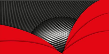 Geometric stylish black and red background. Abstract background with paper cut layers and metal texture. Vector design element for banners, posters, covers.