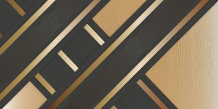 Geometric stylish black and gold background. Abstract luxury background with paper cut layers and intersecting stripes . Vector design element for banners, posters, covers.