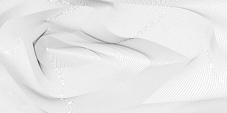 Wavy background of lines. Monochrome dynamic surface with effect of optical illusion. Vector.Editable.