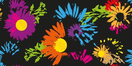 Hand-drawn seamless pattern with floral print. Abstract multi-colored daisies on  black background. Vector pattern for printing on fabric, gift wrapping, covers, wallpapers.