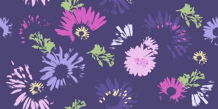 Hand-drawn seamless pattern with floral print. Abstract multi-colored daisies on  purple background. Vector pattern for printing on fabric, gift wrapping, covers, wallpapers.
