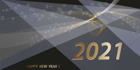 2021 New Year. Abstract holiday background. Christmas template for banners, cards. Black and gold design element for holiday projects.