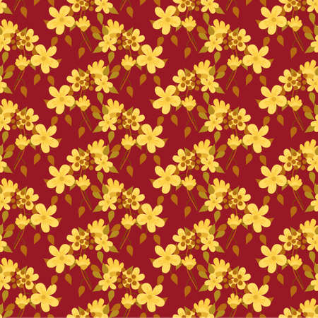 Hand-drawn seamless pattern with floral print. Abstract garden flowers on red background. Vector pattern for printing on fabric, gift wrapping, covers, wallpapers.