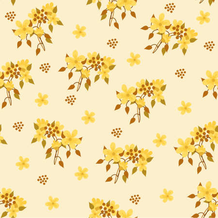 Hand-drawn seamless pattern with floral print. Abstract garden flowers on yellow background. Vector pattern for printing on fabric, gift wrapping, covers, wallpapers. 向量圖像