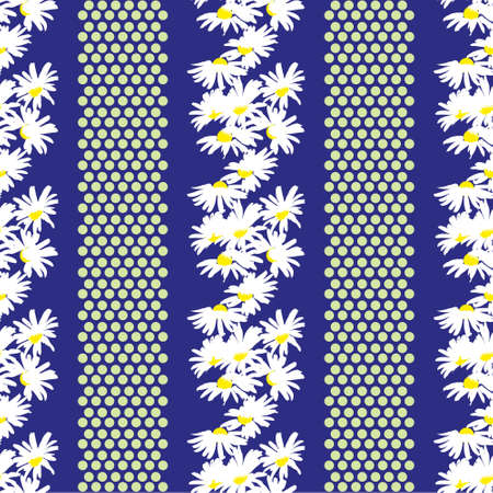 Hand-drawn seamless pattern with floral print. Abstract white daisies on blue background. Vector pattern for printing on fabric, gift wrapping, covers, wallpapers.