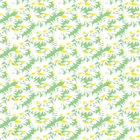 Hand-drawn seamless pattern with floral print. Abstract white daisies on green background. Vector pattern for printing on fabric, gift wrapping, covers, wallpapers.