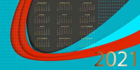Calendar 2021. Colorful calendar with paper cut effect. Week starts from Sunday. Red, black and blue design. 矢量图像