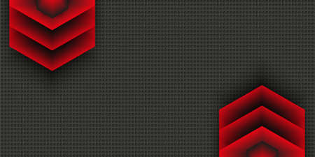 Geometric stylish black and red background. Abstract template with volumetric arrows on perforated background. Vector design element for banners, posters, covers.