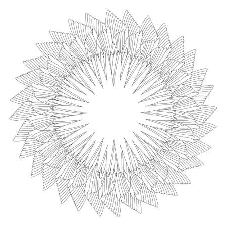 Abstract black and white circular pattern. Geometric pattern with visual distortion effect. Optical illusion. Op art. Coloring book
