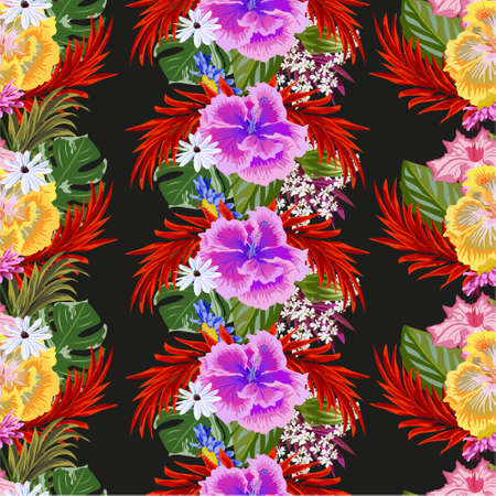 Seamless tropical background with hibiscuses and exotic leaves. Design for cloth, wallpaper, gift wrapping. Print for silk, calico and home textiles.Vintage natural pattern