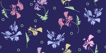 Hand-drawn seamless pattern with floral print. Abstract multi-colored flowers on blue background. Vector pattern for printing on fabric, gift wrapping, covers, wallpapers, home textiles.