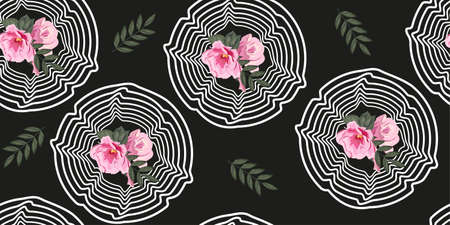 Hand-drawn seamless pattern with floral print. Cute pink flowers in wavy rosette on a black background. Vector pattern for printing on fabric, gift wrapping, covers, wallpapers, clothes, home textiles.