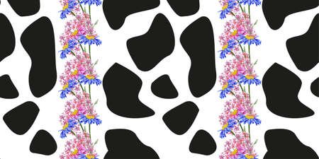 Seamless pattern with print of cow skin and wildflowers. Abstract spots and cute meadow flowers on a white background. Vector pattern for printing on fabric, gift wrapping, covers, wallpapers. 矢量图像