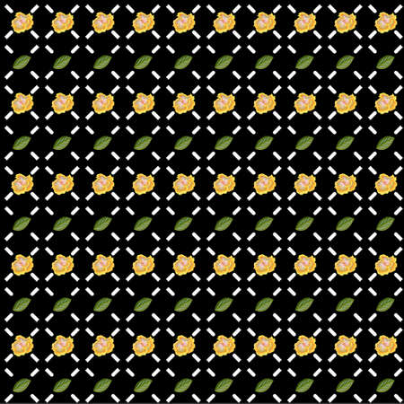 Small yellow hibiscus and simple geometric ornament on black background. Vector seamless pattern with floral print. For printing on fabric, gift wrapping, covers, wallpapers, clothes, home textiles. 矢量图像
