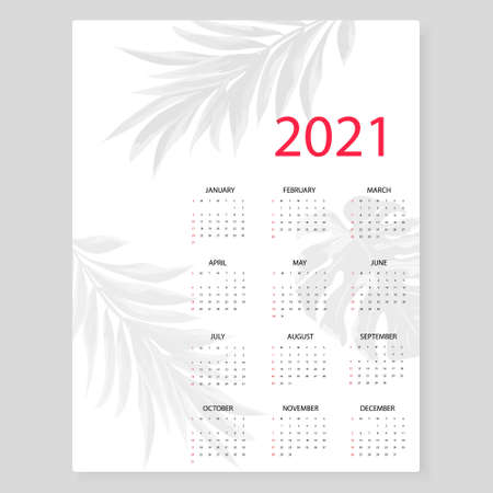Calendar 2021. Simple minimal design with shadow from palm leaves. Week starts from Sunday.