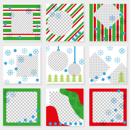 Set of square templates for social media design. Vector background for social networks. Abstract minimal design for Christmas and New Year.Geometric design with place for photos. 矢量图像