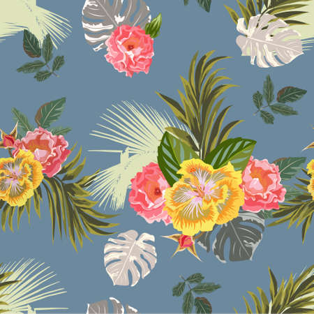 Tropical seamless floral pattern with hibiscus, roses and exotic leaves. Floral background for printing on fabric, clothing, home textiles, wallpaper, gift wrapping.