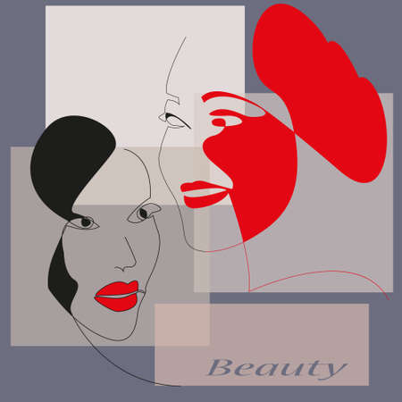 Hand-drawn fashion poster with abstract female faces. Line art. Minimalist design for creative projects in black and red.