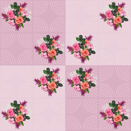 Seamless pattern with beautiful roses and geometric ornament. Floral background for printing on fabric, clothing, home textiles, wallpaper, gift wrapping.