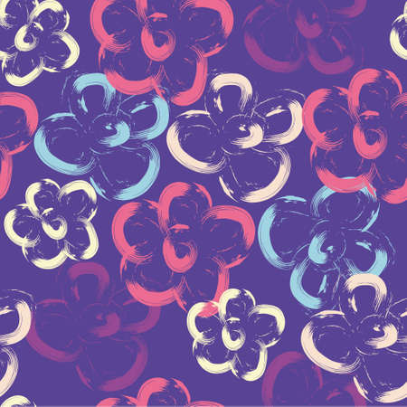 Hand-drawn seamless pattern with floral print. Abstract multi-colored flowers painted by brush on purple background. Vector pattern for printing on fabric, gift wrapping, covers, wallpapers, home textiles. 矢量图像