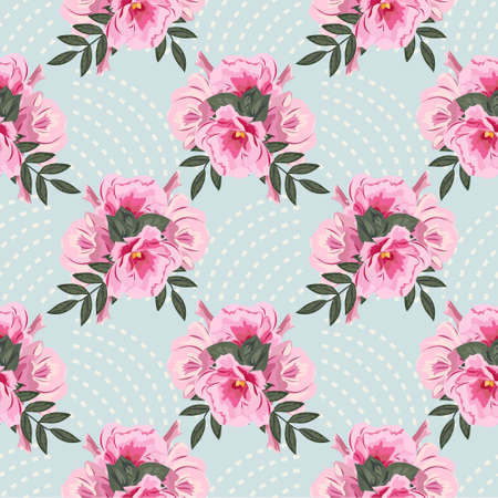 Seamless pattern with cute pink flowers and geometric ornament. Floral background for printing on fabric, clothing, home textiles, wallpaper, gift wrapping. 矢量图像
