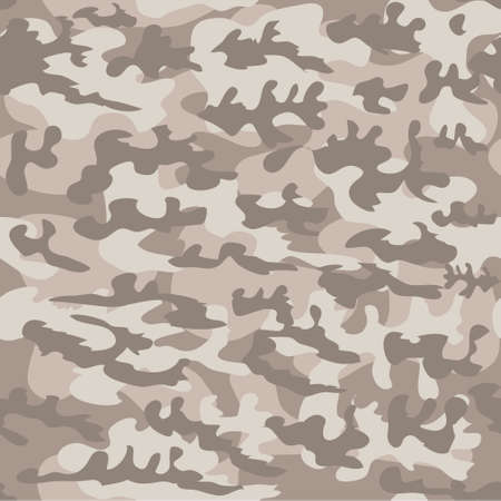Camouflage seamless pattern. Vector military background in brown and beige shades. Print for clothes, wallpaper, covers, packaging.