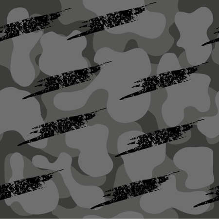 Camouflage seamless pattern. Vector military background in gray and black shades. Print for clothes, wallpaper, covers, packaging.