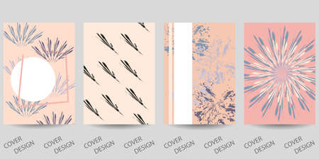 Set of abstract creative templates with brush strokes. For printing on covers, banners, sales, flyers. Modern design. Vector. EPS10