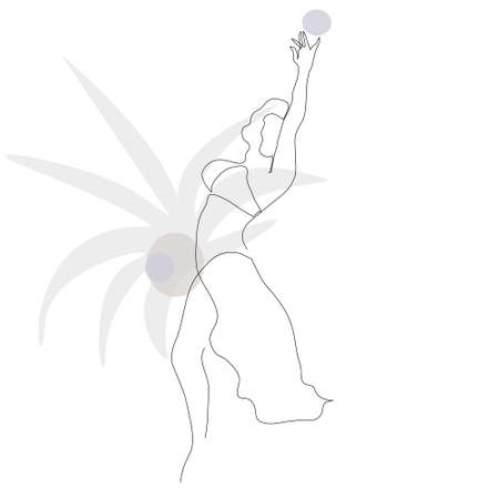 Abstract figure of dancing girl. Art template with modern hand-drawn texture. Continuous drawing with one line. Creative background for cards, covers, posters, apparel printing. Editable.