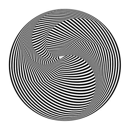 Abstract black and white striped round object. Geometric pattern with visual distortion effect. Optical illusion. Op art. Isolated on white background. 免版税图像 - 157157311