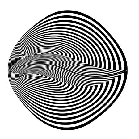 Abstract black and white striped round object. Geometric pattern with visual distortion effect. Optical illusion. Op art. Isolated on white background. 免版税图像 - 157157314