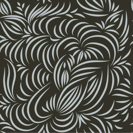 Hand-drawn seamless floral pattern. Natural ornament from wavy lines on black background. For printing on fabrics, home textiles, wallpaper.