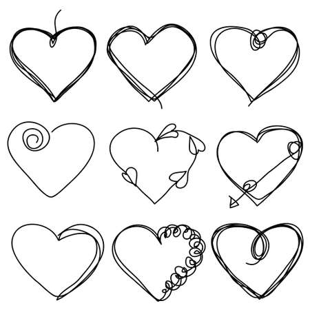 Set of hand drawn scribble hearts. Collection of abstract frames in doddles stylein in the shape of heart. Continuous line. Vector. Isolated on white background. 矢量图像
