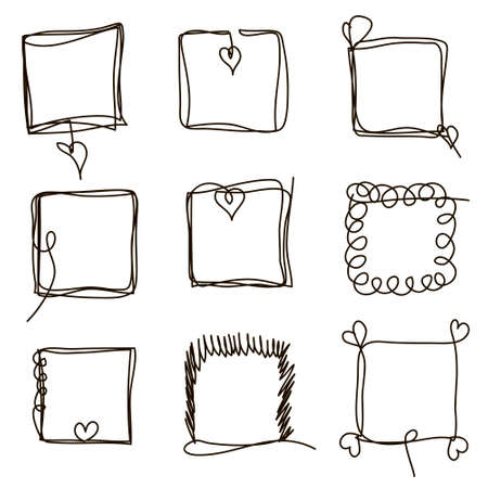 Set of hand drawn scribble quadrangles. Collection of abstract square frames in doddles style. Square design element. Continuous line. Vector. Isolated on white background.