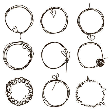 Set of hand drawn scribble circles. Collection of abstract round frames in doddles style. Round design element. Continuous line. Vector. Isolated on white background. 免版税图像 - 157585117
