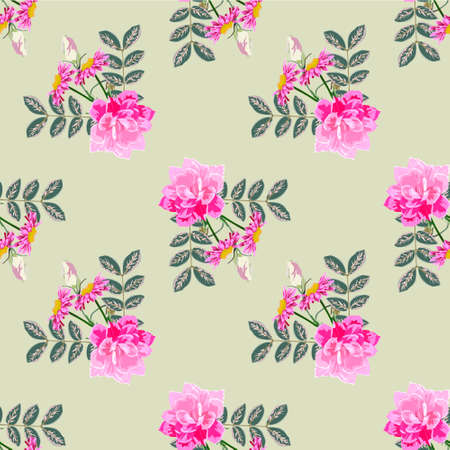 Seamless pattern with decorative twigs and cute pink flowers. Flower background for textile, cover, wallpaper, gift packaging, printing.Romantic design for calico, silk. 矢量图像