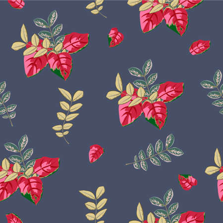 Autumn seamless pattern with red and green leaves on dark background. Flower background for textile, cover, wallpaper, gift packaging, printing.Romantic design for calico, silk.