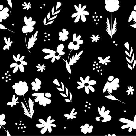 Hand-drawn seamless pattern with floral print. Abstract white flowers on black background. Vector pattern for printing on fabric, gift wrapping, covers, wallpapers.