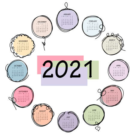 Calendar 2021. Colorful vector template with round frames in doddles style. Week starts on Sunday.