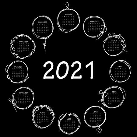 Calendar 2021. Black and white vector template with round frames in doddles style. Week starts on Sunday.