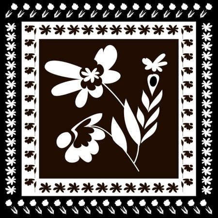 Square flower arrangement.Abstract white flowers on black background. Pattern for printing on scarves, postcards, carpets, bandanas, napkins, home textiles. Vector. 免版税图像 - 158185132