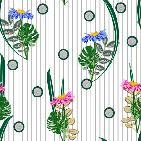 Seamless pattern with cute garden flowers on striped background. Design for cloth, wallpaper, gift wrapping. Print for silk, calico, home textiles.Vintage natural pattern.