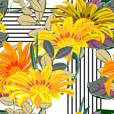 Seamless pattern with floral print. Bright yellow and orange flowers on striped background. Design for fabrics, covers, wallpapers, packaging. 矢量图像