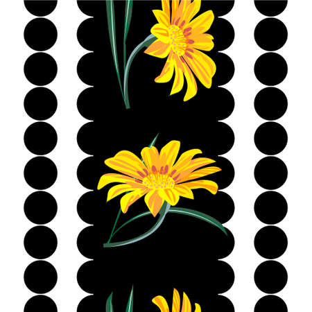 Seamless pattern with floral print. Bright yellow and orange flowers on black and white geometric background. Design for fabrics, covers, wallpapers, packaging. 矢量图像