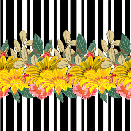 Seamless pattern with roses and yellow garden flowers on striped background. Flower background for textile, cover, wallpaper, gift packaging, printing.Romantic design for calico, silk. Horizontal border. 矢量图像