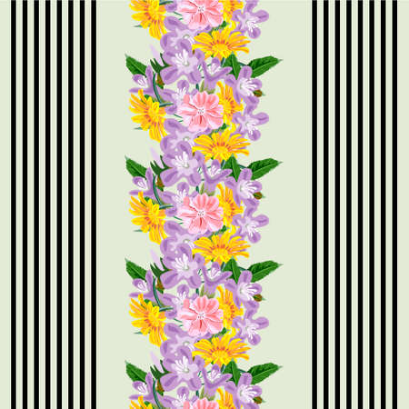 Seamless pattern with floral print. Yellow, pink, lilac garden flowers on striped background. Design for fabrics, covers, wallpapers, packaging.Vertical border.