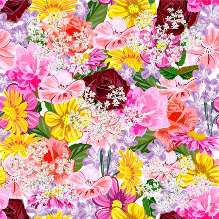 Seamless pattern with cute colorful garden flowers. Flower background for textile, cover, wallpaper, gift packaging, printing.Romantic design for calico, silk.
