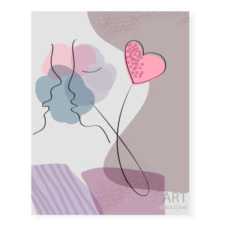 Hand-drawn fashion poster with abstract faces of man and woman. Line art. Minimalist design for creative projects.